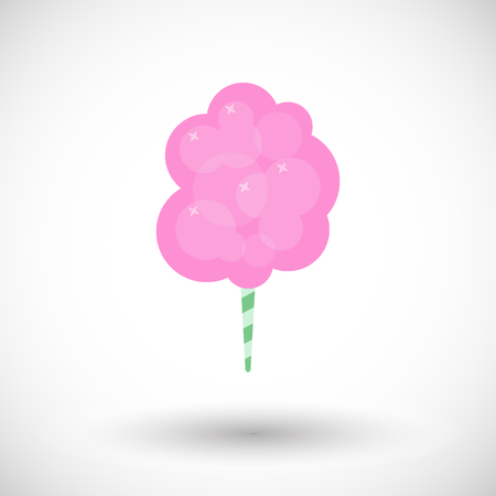 Cotton candy floss icon, Flat design of sweet food with round shadow, cartoon vector illustration