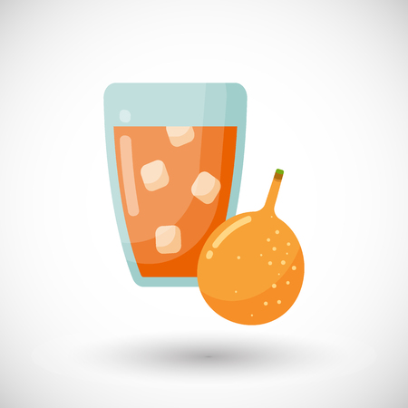 Passion fruit juice glass vector flat icon