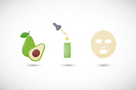 Avocado oil facial mask vector flat icons set, Flat design of medicine, cosmetology and skin care with round shadows, cute vector illustration