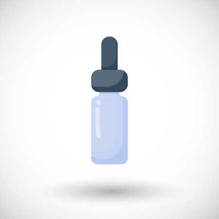Dropper bottle vector flat icon, Flat design of aromatherapy or medicine object with round shadow, vector illustration