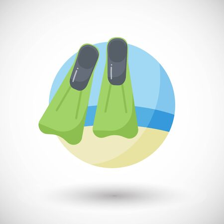 Flippers icon, Flat design of diving or snorkelling equipment on the beach with round shadow, vector illustration