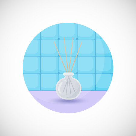 bathroom tiles: Reed diffuser with essential oils vector flat icon, Flat design of aromatherapy, spa or massage object in the bathroom interior, vector illustration with shadows