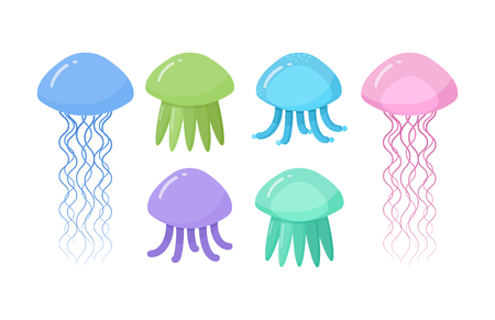 Jellyfish vector flat icon set, Flat design of swimming marine creature isolated on the white background, vector illustration