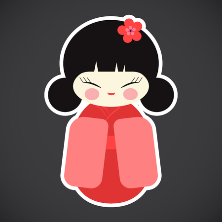 Kokeshi doll vector flat icon, Flat design of kawaii Japanese girl sticker isolated on the dark background, cute vector illustration