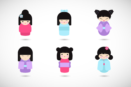Kokeshi dolls vector flat icon set, Flat design icon collection of kawaii Japanese girls, Vector illustration