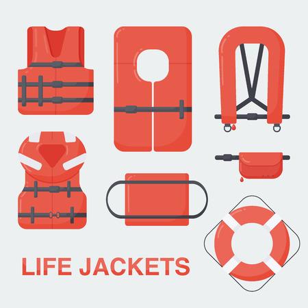 Conjunto de chalecos salvavidas, Diseño plano de diferentes tipos de dispositivos de flotación, ilustración vectorial