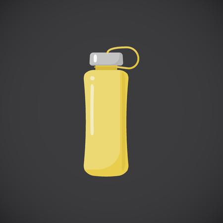 Fitness bottle vector flat icon, Flat design of water bottle, healthcare object isolated on the dark background, vector illustration Illustration