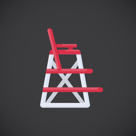 Lifeguard chair vector flat icon, Flat design of beach safety and life guard profession object isolated on the dark background, vector illustration