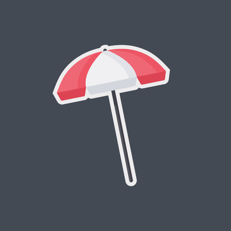 coast guard: Lifeguard umbrella vector flat icon, Flat design of red and white life guard sticker isolated on the dark background, vector illustration Illustration