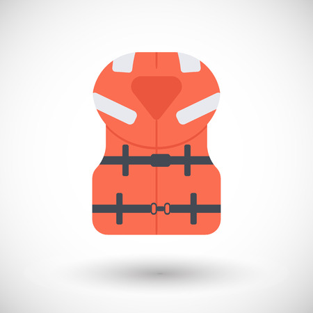 Offshore life jacket icon, Flat design of swimming safety with round shadow, vector illustration