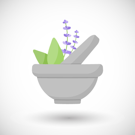Mortar herbs vector flat icon, Flat design of aromatherapy, cooking or ayurveda object with round shadow, vector illustration