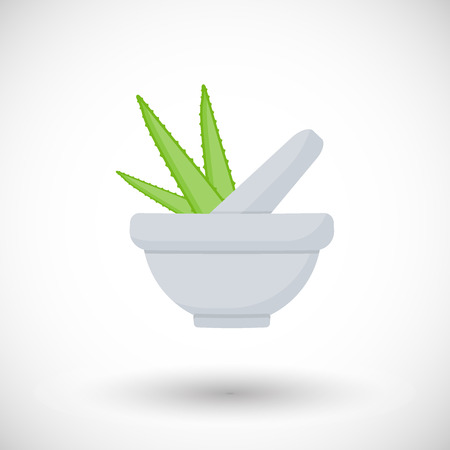 Mortar herbs with aloe vector flat icon, Flat design of aromatherapy, cooking or ayurveda object with round shadow, vector illustration