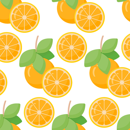 pulp: Orange fruit vector seamless pattern, flat design of food, drink or aromatherapy ingredient, vector illustration