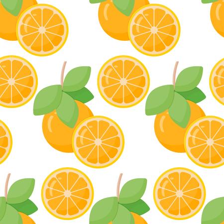 Orange fruit vector seamless pattern, flat design of food, drink or aromatherapy ingredient, vector illustration