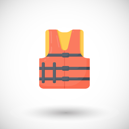 Life jacket vector flat icon, Flat design of swimming safety with round shadow, vector illustration
