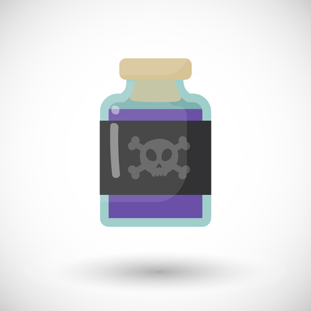 Poison bottle vector flat icon, Flat design of toxic, dangerous or medicine object with round shadow, vector illustration