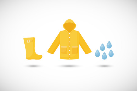 Raincoat, rain boots and rain drops vector flat icons set Illustration