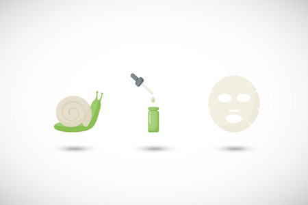 Snail mucus facial mask vector flat icons set