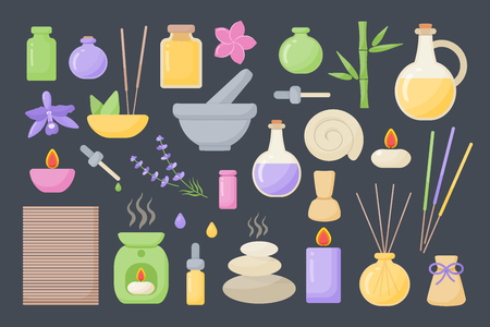 Icônes de spa et d'aromathérapie, grand ensemble d'objets de soins de santé et de médecine design plat Banque d'images - 83354868