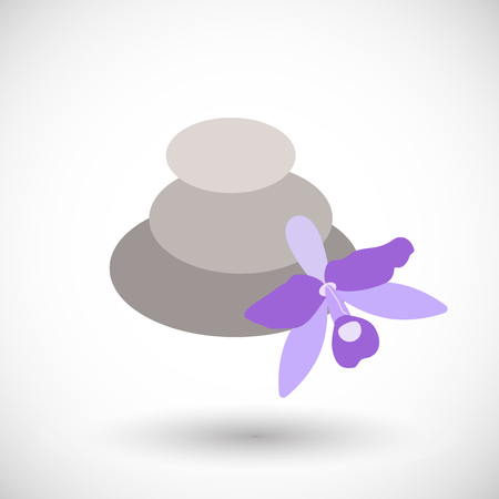 Spa stones with orchid icon, Flat design of medicine and orient massage with round shadow, vector illustration