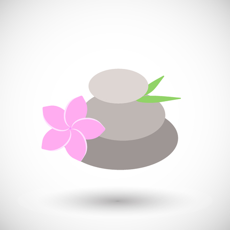 Spa stones with frangipani icon, Flat design of medicine and orient massage with round shadow, vector illustration Illustration