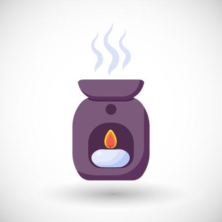 oil lamp: Oil burner vector flat icon, Flat design of spa, aromatherapy or relaxation object with round shadow, vector illustration