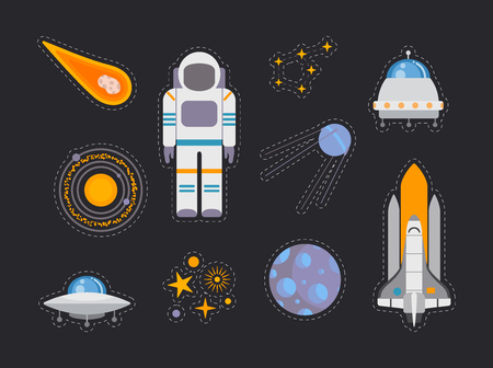Space exploration icons set, Flat design stickers on the dark background, Vector illustration
