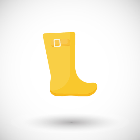 Rain boots vector flat icon, Flat design of rainy weather clothing isolated on the white background with round shadows, vector illustration
