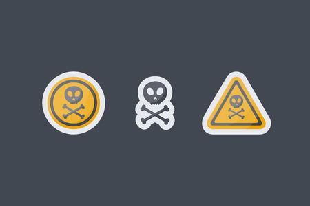 Poison sign flat icons set.