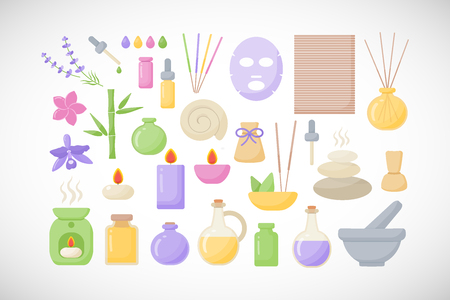Spa and aromatherapy vector flat icons, big set of flat design healthcare and medicine objects isolated on the dark background, vector illustration