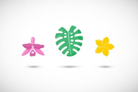열 대 식물 벡터 플랫 아이콘 세트, 난초, monstera 리프 및 plumeria 꽃의 평면 디자인 흰색 배경, 벡터 일러스트 레이 션에서 절연 라운드 그림자와 함께