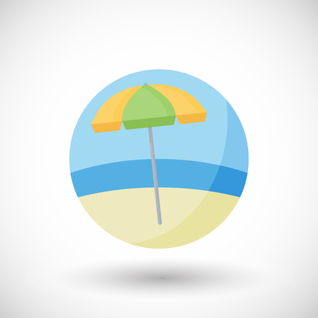 Beach umbrella vector flat icon set, Flat design of leisure, weekend or recreation object isolated on the background, vector illustration Illustration