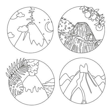 Coloring book page with volcanoes and tropical plants, Adult antistress drawing with adventure and travel objects. Black and white hand drawn doodle for coloring book Illustration