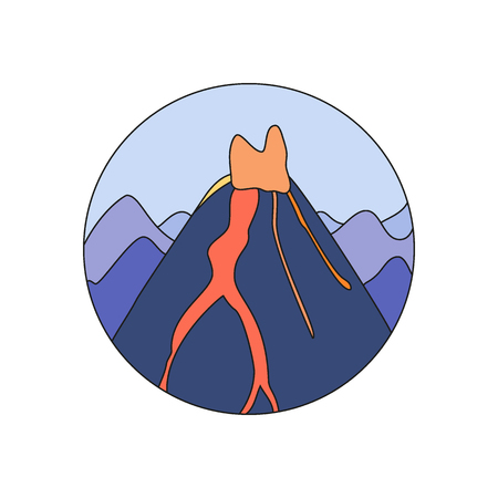 mountain ash: Volcano doodle icon, Hand-drawn design of natural disaster object isolated on the white background, vector illustration