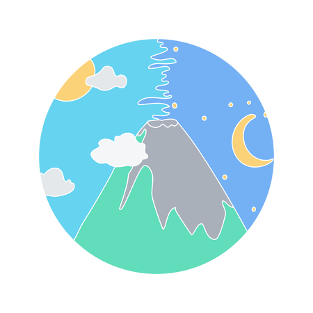 Volcano vector doodle icon, Hand-drawn icon design of natural disaster object isolated on the white background, vector illustration Illustration