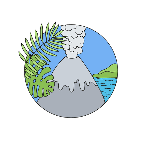 Volcano doodle vector logo, Hand-drawn icon design of natural disaster object isolated on the white background, vector illustration