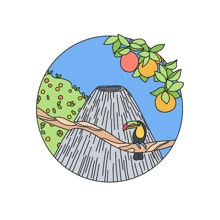 Volcano doodle vector logo, Hand-drawn icon design of mountain in nature isolated on the white background, vector illustration