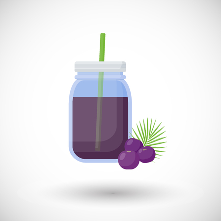 Acai berries smoothie flat icon, Flat design of superfood or healthy eating object with round shadow isolated on the white background, cute illustration with reflections Illustration