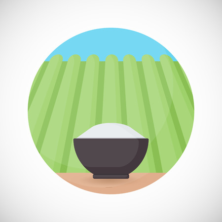 japanese cuisine: Bowl of rice vector flat icon, Flat design of cooking utensil, tableware, kitchenware object on the rice plantation background, vector illustration with shadows