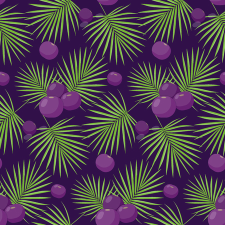 Acai bayas patrón, diseño plano de superfood o saludable comer papel tapiz aislado en la oscuridad, ilustración linda con reflejos