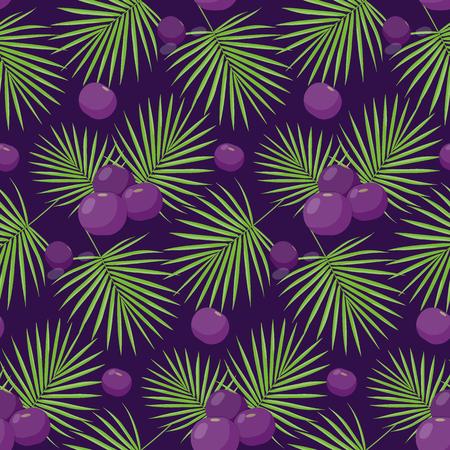 Acaibessenpatroon, Vlak ontwerp van superfood of gezond het eten behang dat op de donkere, leuke illustratie met bezinningen wordt geïsoleerd