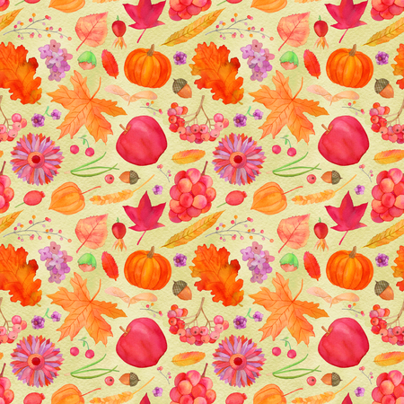 golden apple: Rustic fall seamless pattern, autumn harvest watercolor background Stock Photo