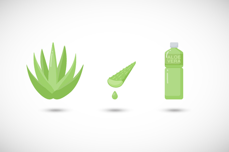 Aloe vera healthy drink vector flat icons set, Flat design of medicine, food and health with round shadows, cute vector illustration
