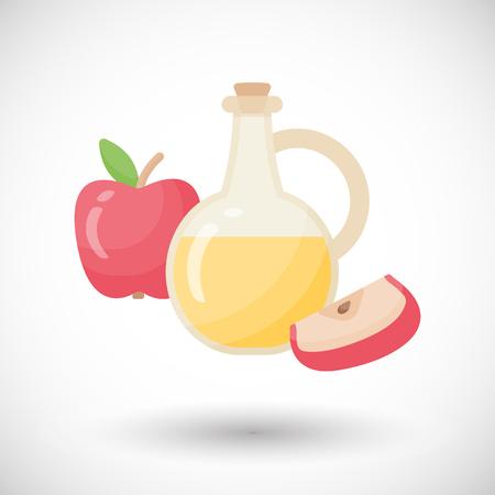 Ícone plano de vinagre de cidra de maçã.