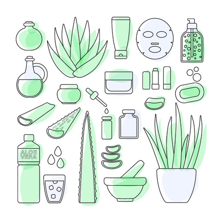 Thin line icon set - aloe vera plant and products, big set of filled outline design healthcare and cosmetology objects isolated on the white background, vector illustration.