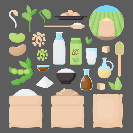 Soy vector flat icon set, Big collection of flat design of food, healthy eating objects, soy products and plantation isolated on the dark background, cute vector illustration with reflections Illustration