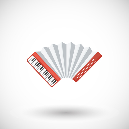 Accordion vector flat icon, Flat design of musical instrument, festival music object with round shadow isolated on white background.