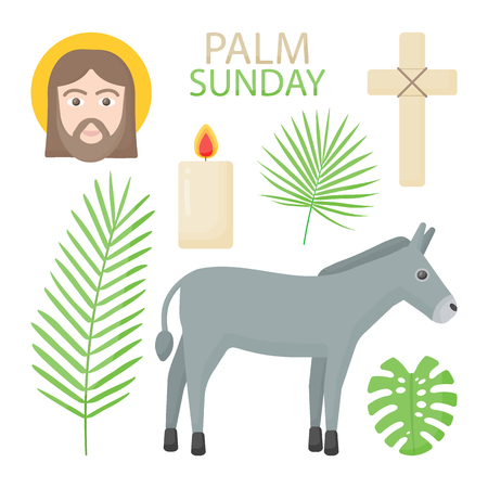 Palm Sunday vector flat icon set, Hosanna collection of flat design objects isolated on the dark background, vector illustration Illustration