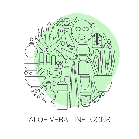 Thin line icon set - aloe vera plant and products, big set of outline design healthcare and cosmetology objects isolated on the white background in circle, vector illustration