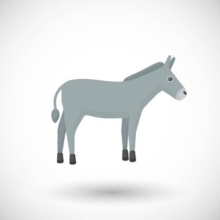Donkey flat vector icon, Flat design of farm animal, mule cute vector illustration with round shadow isolated on the white background